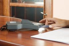 Credit card pos-terminal. Credit card terminal (POS-terminal) for payment Royalty Free Stock Photography