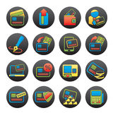 Credit card, POS terminal and ATM icons. Vector icon set Stock Images
