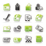 Credit card, POS terminal and ATM icons Royalty Free Stock Photos