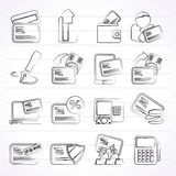 Credit card, POS terminal and ATM icons. Vector icon set Royalty Free Stock Photography