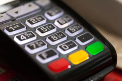 Credit card pos terminal, keyboard closeup Royalty Free Stock Photography