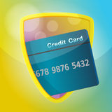 Credit card Protect Shield Gold Finance  Royalty Free Stock Photo
