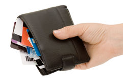 Credit card in a purse Royalty Free Stock Image