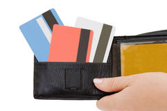 Credit card in a purse Royalty Free Stock Photo