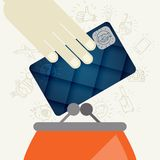 Credit Card And Purse In Flat Design Style Royalty Free Stock Photography