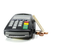 Credit card reader. Machine and coins,isolated on white Royalty Free Stock Photo