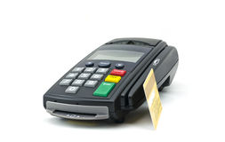 Credit card reader. Credit card and card reader machine,isolate on white background Stock Image