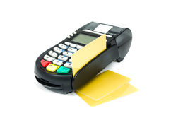 Credit card reader. Credit card and Card reader machine, on white background Royalty Free Stock Photography