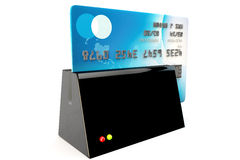 Credit card reader, card being security swiped Royalty Free Stock Images