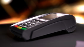 Credit Card Reader with card passed. 3d illustration Stock Photography