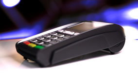 Credit Card Reader with card passed. 3d illustration Royalty Free Stock Photography