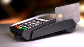 Credit Card Reader with card passed. 3d illustration Stock Images