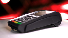 Credit Card Reader with card passed. 3d illustration Stock Photos