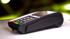 Credit Card Reader with card passed. 3d illustration Royalty Free Stock Image