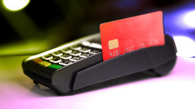 Credit Card Reader with card passed. Royalty Free Stock Photo