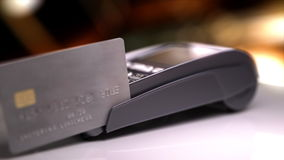 Credit Card Reader with card passed. stock video footage