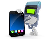 Credit card reader character with smart phone. On white background Royalty Free Stock Photo