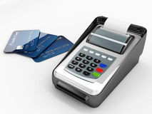 Credit card reader and credit cards Royalty Free Stock Photography