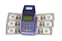 Credit card reader on dollars Stock Image