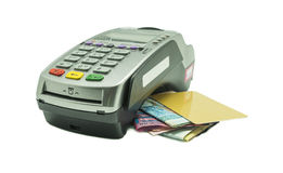 Credit Card reader. Credit card and card reader machine with banknotes , isolated on white background Stock Image