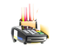 Credit card. And card reader machine and  box of pencil on background ,isolated on white background Stock Photos