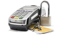 Credit Card. And card reader machine with key , Isolated on white background Royalty Free Stock Image