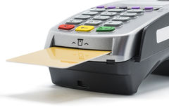 Credit Card. And card reader machine on white background Royalty Free Stock Image