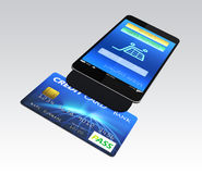 Credit card reader on smart phone for mobile payme Stock Photo