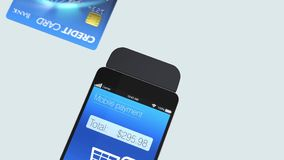 Credit card reader on smart phone for mobile payme stock video