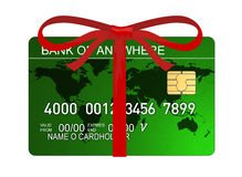 Credit card with red bow Royalty Free Stock Images