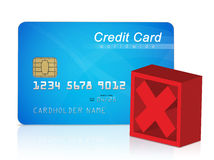 Credit card and red cross mark stock illustration