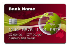 Credit Card (red - planet) Royalty Free Stock Photography