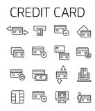 Credit card related vector icon set. Well-crafted sign in thin line style with editable stroke. Vector symbols isolated on a white background. Simple Royalty Free Stock Images