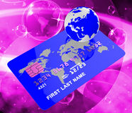 Credit Card Represents Bankcard Globalisation And Planet Royalty Free Stock Images