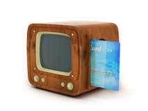 Credit card and retro TV Royalty Free Stock Images