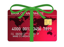 Credit card with ribbon Royalty Free Stock Image