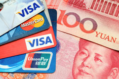 Credit card with RMB stock photography