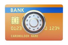 Credit card with safe combination dial lock. Security and Safety. Concept, 3D Royalty Free Stock Images