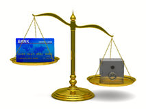 Credit card and safe on scales Stock Photos