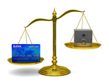 Credit card and safe on scales Stock Images