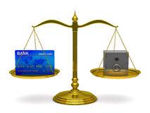 Credit card and safe on scales Royalty Free Stock Photo