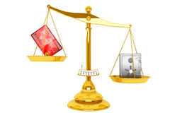 Credit card and safe on scales Royalty Free Stock Image