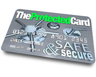 Credit Card - Safe and Secure. A credit card with the name The Protected Card Royalty Free Stock Image