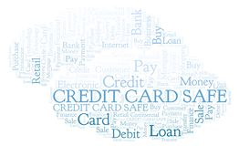 Credit Card Safe word cloud. Wordcloud made with text only royalty free illustration