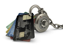 Credit Card Safety. Credit card stuck in a lock code. Concept of protection against theft of your money Royalty Free Stock Images