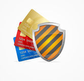 Credit Card Safety Concept. Vector. Credit Card Safety Concept  on White Background. Symbol of Protection and Security. Vector illustration Stock Image