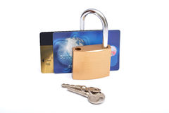 Credit card safety lock with keys.  royalty free stock images
