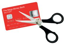 Credit card and scissors - isolated Royalty Free Stock Image
