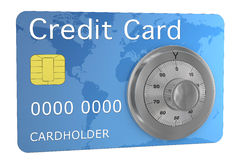 Credit card secure. One credit card with a combination wheel, concept of security (3d render Royalty Free Stock Photos