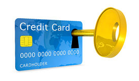 Credit card security. One credit card with a keyhole and a key, concept of protection and security (3d render Stock Images